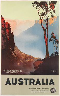 The blue mountains australia tourism poster, australia travel, illustration Blue Mountains Australia, Posters Australia, Blue Canvas Art, Australian Vintage, Tourism Poster, Kunst Poster, Photo Wall Collage, Vintage Travel Posters, Vintage Travel Decor