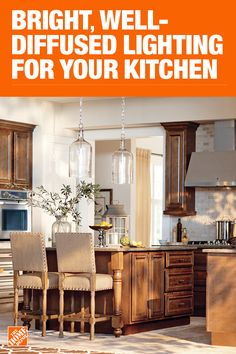 Kitchen Lighting Fixtures & Ideas - The Home Depot Diy Room Decor, Living Room Decor, Home Decor, New Kitchen, Kitchen Ideas, Glass Desk, Inside Home, Kitchen Lighting Fixtures, Lighting Solutions