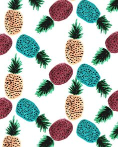 Weird Pineapples. #pattern #illustration #fruit