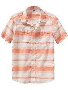 Boys Striped Linen-Blend Shirts | Old Navy