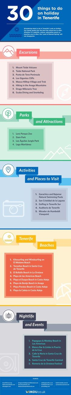 30 Things To Do In Tenerife infographic: