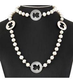Collar de perlas freswater con motivos de plata de 925ml en forma de osos