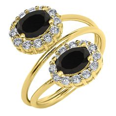 2.14 Ct Oval Black Onyx 18K Yellow Gold Plated Silver Ring *** Find out more details by clicking the image : Jewelry Rings
