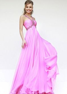 Beaded V-neck Straps Pink Sherri Hill 11072 Chiffon Ruched Prom [Sherri Hill 11072] - $220.00 : Darling Fashion Prom Dress Shop,2015 Prom Dresses Online Sale!