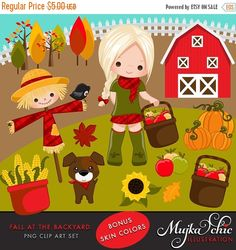 50% OFF SALE Fall at Backyard Clipart. Cute apple picker characters, scarecrow, red barn, pumpkins, fall leaves and trees, puppy, sunflower