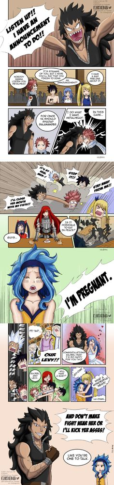Gajevy Week ✿ Prompt: Pregnancy's Announcement Read from left to right Gale Fairy Tail, Fairy Tail Funny, Fairy Tail Natsu And Lucy, Fairy Tail Art, Fairy Tail Guild, Fairy Tail Ships, Gajevy, Gruvia, Fairytail