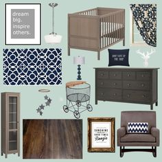 aqua & navy nursery w/ dark woods and some gray accents