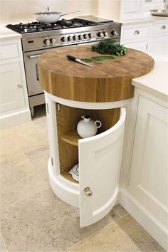 Coolest Idea Ever. Just a small spot to help prevent undue scratches if anyone is TEMPTED to cut anything WITHOUT a cutting board. Painted Kitchens - Painted Bespoke Kitchens - Tom Howley Most Popular Kitchen Design Ideas on 2018 & How to Remodeling Top Kitchen Designs, Kitchen Furniture, Top Kitchen Trends, Kitchen Trends, Small Kitchen, Kitchen Remodel, Kitchen Decor, Kitchen Renovation, Kitchen Design