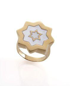 ABRAHAM DAVID GOLD WHITE RING