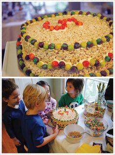 saturday morning pj party w/ cereal bar & rice krispy treat cake. srsly amazing.