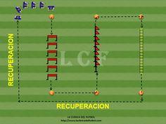 Descripcion: En este Ejercicio de alta intensidad los jugadores tendras que absolver un Circuito con vallas, palos y una escalera larga como se puede ver. Despues de finalizar el Circuito, los jugadores tendras una corta fase de recuperacion.