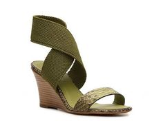 Donna Karan Reptile Leather & Fabric Wedge Sandal Womens Wedge Sandals All Womens Sandals Sandal Shop - DSW