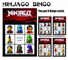 Ninjago lotto Bingo Ninja Full House game. Great for Birthday