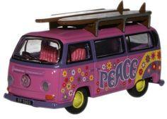 1:76 Surfboards Flower Power Oxford Diecast Vw Minibus