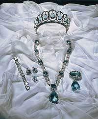 Aquamarine tiara and parure belonging to the Spanish royals - #Aquamarine #Tiara - #RoyalTiara from Spain