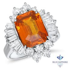 5.35ct GIA Certified Orange Sapphire Ring with Diamond Accents in 18K White Gold - 6.5