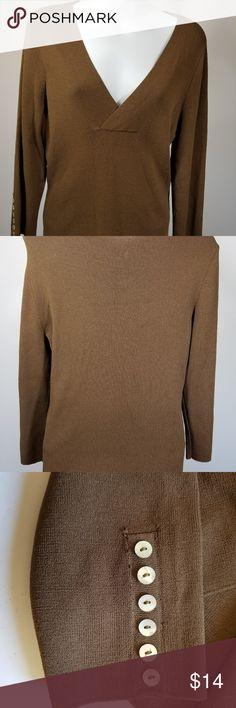 50b62391b48 Cato Women Brown V neck Knit top Size L Button Cato Women Brown V neck Knit