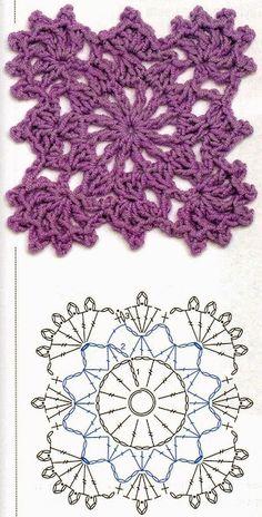 Transcendent Crochet a Solid Granny Square Ideas. Inconceivable Crochet a Solid Granny Square Ideas. Beau Crochet, Crochet Diy, Form Crochet, Crochet Blocks, Crochet Diagram, Crochet Squares, Crochet Chart, Crochet Motif, Manta Crochet