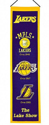 """Los Angeles Lakers 32"""" Embroidered Genuine Wool Heritage Banner NWT NBA"""
