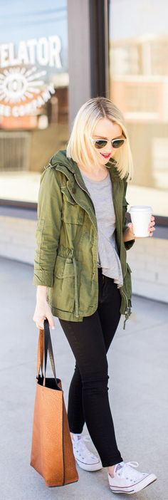 How To Style A Green Utility Jacket - Poor Little It Girl