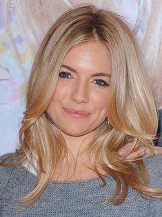 Sienna Miller blonde hair grey sweater