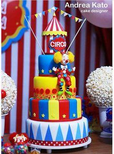 Circus cake Carnival Birthday Cakes, Carnival Cakes, Circus Cakes, Circus Carnival Party, Circus Theme Party, Circus Birthday, Circus 1st Birthdays, First Birthdays, First Birthday Parties