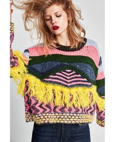 Image 1 of FRINGED JACQUARD SWEATER from Zara