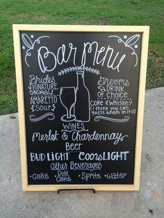 Bar Menu Brides signature cocktail Grooms drink by ChalkingChic