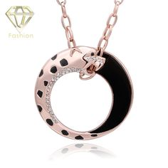 2017 New Fashion Rose Gold Color Long Vintage Leopard Pendant Necklace with AAA+ Cubic Zircon Crystal Jewelry Best Gift