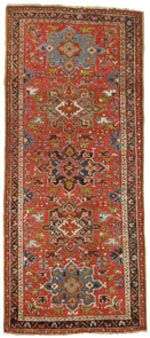 """Tschebull - Runners  Heriz rug, 3'5"""" x 7'10"""", from one of the weaving villages in East Azarbayjan in northwest Iran, dating to about 1920"""