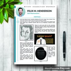Resume Template Modern, Cover Letter + Portfolio Word, CV Template, Professional…