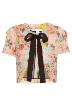 OSCAR DE LA RENTA Floral-Jacquard Cropped Jacket. #oscardelarenta #cloth #jacket