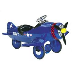$475.00 - The Corsair Pedal Plane has tires: High Traction Rubber Toy Safety Tested and Approved for the USA Non Slip Pedals - Padded and Snapped Seat Propeller moves when you pedal. All metal construction - Custom Graphics Automotive Powder Coat lead-free paint    rSome assembly required  rDimensions: Length 45, Width 35Like Ride-Ons? See ?em all here!