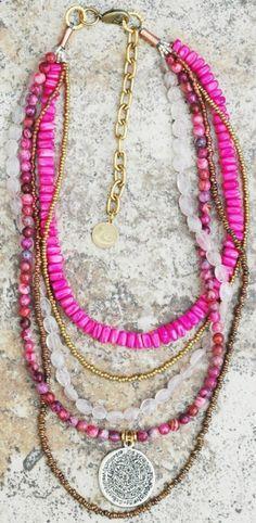 boho style jewelry pink necklace