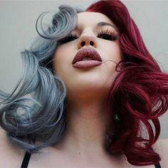 Half trendy gray half burgundy dyed hair color