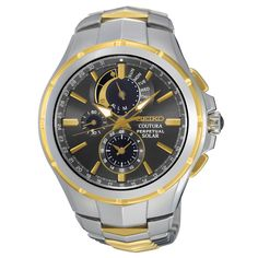 Seiko SSC376 Men's Watch Coutura Solar Perpetual Chronograph Two-Tone Stainless Steel Band