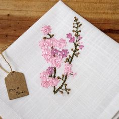 Cherry blossom embroidery, all handmade! The stitching is done 100% by hand, following an original pattern created by Charming! :) Choose between a napkin, tea towel or wedding handkerchief.