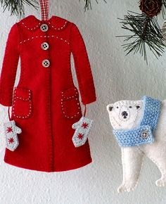 Snow Day Ornament Set Pattern by Alicia Paulson of Posie Rosy Little Things. She has some delightful Christmas tree ornament patterns, including this Little Red Coat $7.00 Whimsical indeed.