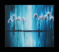 Blue Painting Tree Painting Landscape by heatherdaypaintings, $195.00