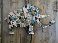 Customized mosaic elephant for Kiran, mosaic art.  I can cut anything out with my jigsaw!  Email me at kellylaaron at sbcglobaldotnet to order your custom piece!
