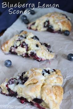 Blueberry Lemon Scones Fresh plump blueberries and lemon zest come together to make the tastiest scone! You'll want these Blueberry Lemon Scones for breakfast all the time! Just Desserts, Delicious Desserts, Yummy Food, Blueberry Lemon Scones, Blueberry Lemon Recipes, Blueberry Torte, Fruit Scones, Orange Scones, Blueberry Desserts