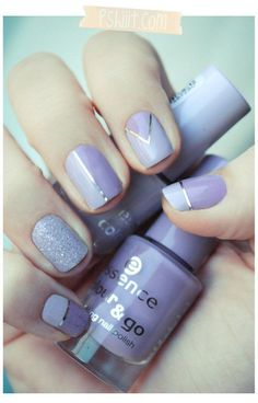 A periwinkle and metallic silver themed nail art design featuring a simple matte design with the metallic details added on top.