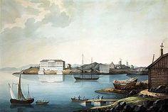 Valerian Galjamin, akvarelli 1827.  Näkymä Pohjoisrannasta Katajanokalle, jossa kohoaa uusi kasarmi.