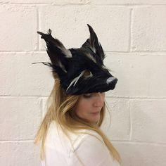 Luxury Black Feather Fox Mask Midnight Fox Mask Black