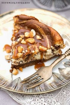 Nutella and Salted Caramel Cheesecake with roasted peanuts   Supergolden Bakes