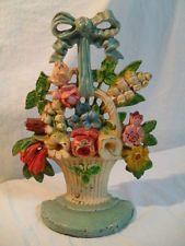 Antique Cast Iron HUBLEY FLOWER BASKET DOORSTOP Vintage Floral Door Stop w Bow