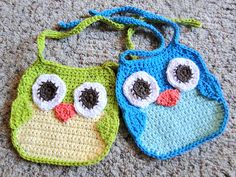 Free pattern for Crochet baby owl bibs~