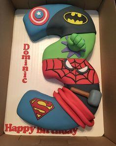 No photo description available. 3rd Birthday Party For Boy, 3rd Birthday Cakes, Birthday Party Decorations, Superhero Party Decorations, Third Birthday, Birthday Ideas, Avengers Birthday Cakes, Superhero Birthday Cake, Superhero Superhero