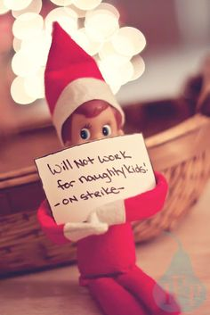 Striking elf, warning to naughty children.