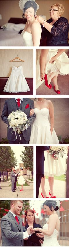 Red Shoes Wedding - red shoes, red tie but no red flowers - really cute and not too much red!
